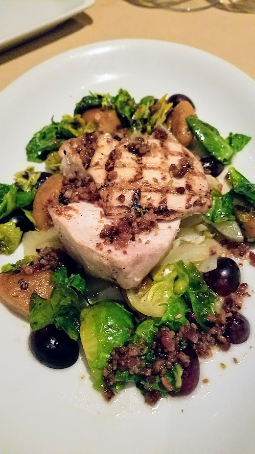 A Nice Dinner at Ringside Fish House with a main of Grilled Marlin with Fennel Fondue, Sweet Potato Gnocchi, Brussel Sprouts, Black Grapes, Rendered Bacon