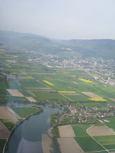 Photo: The runway in Grenchen can be seen at the left side, just above the river http://www.swiss-flight.net