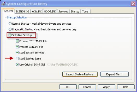 QuickBooks Error 15215 System configuration utility settings - Screenshot