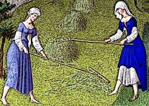Medieval Women work in the fields