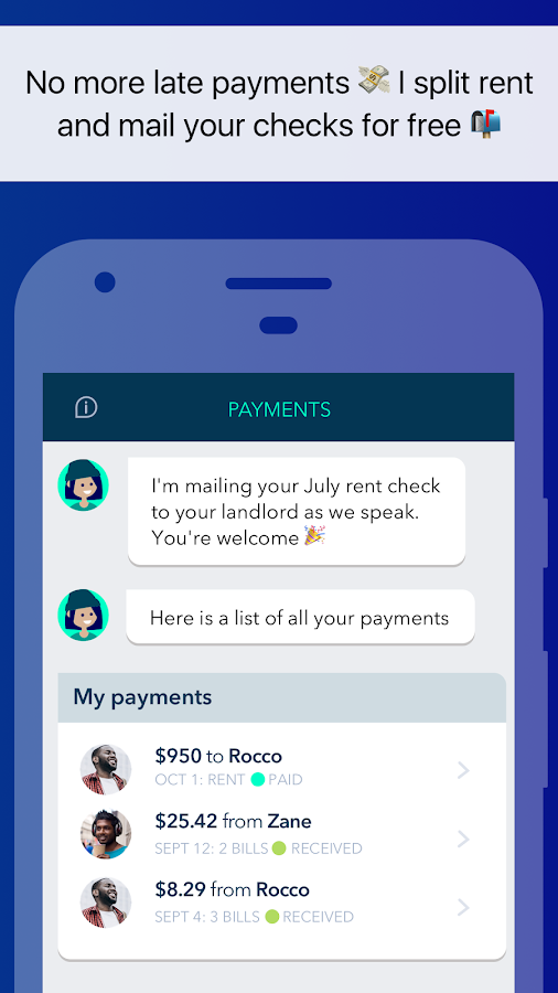 Zently: Split bills, pay rent, log fix-it requests- screenshot