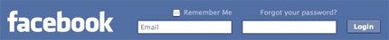 Facebook login bar
