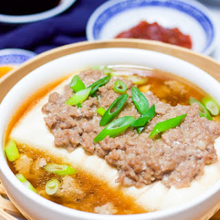 Healthy Steamed Tofu With Ground Meat.