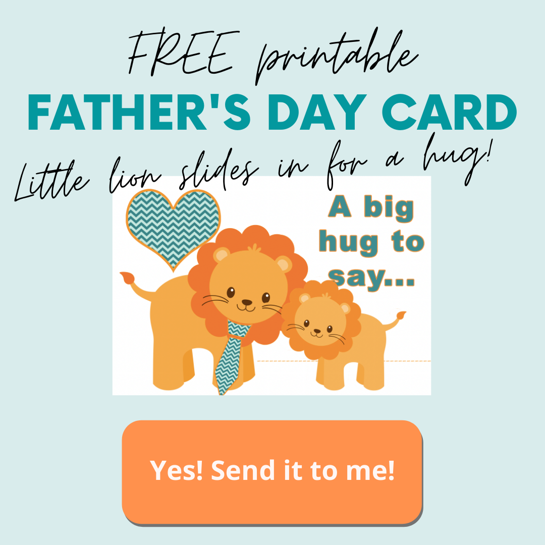 cartoon lion and cub with text overlay free printable Father's Day Card
