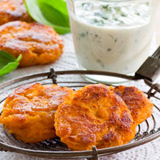 Sweet Potato Fritters with Herb Dip.