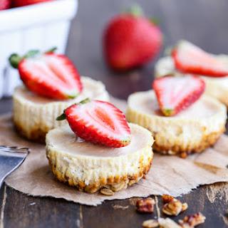 Greek Yogurt Cheesecakes with Granola Crust.