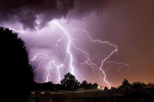 A Midnight Storm by Phil Hanna - Landscapes Weather ( thunder, lightning, night, urban landscape )