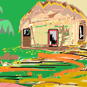 a hut in a green village. by Jayita Mallik - Painting All Painting ( the path, hut, sun, summer, banana tree )