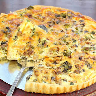 Quiche with Broccoli, Mushrooms and Kale.