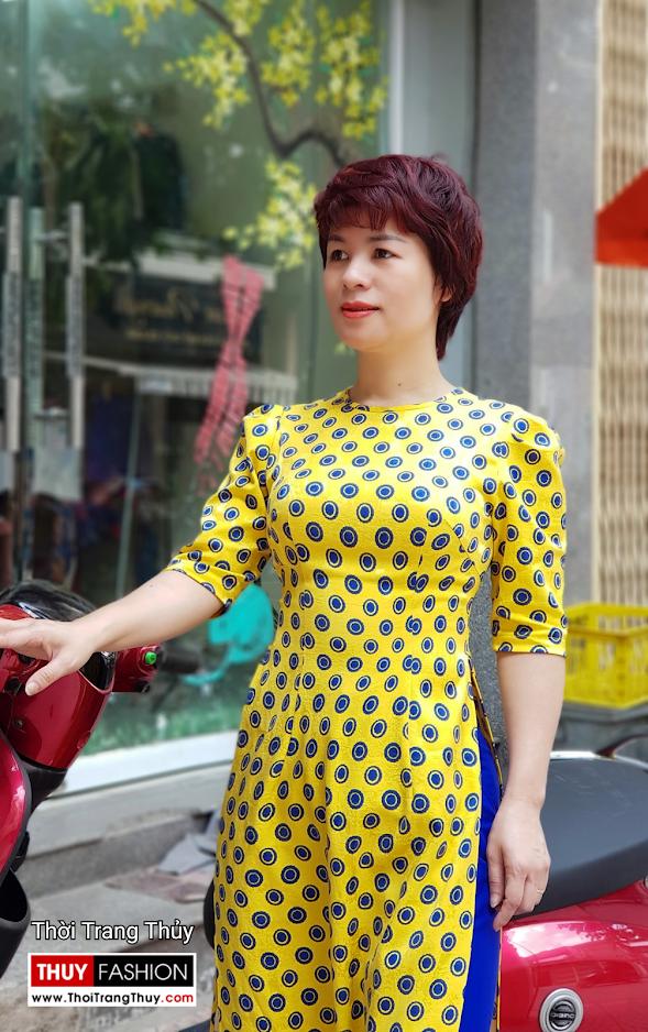 Áo dài cách tân chấm bi màu vàng xanh V704 thời trang thủy thái bình