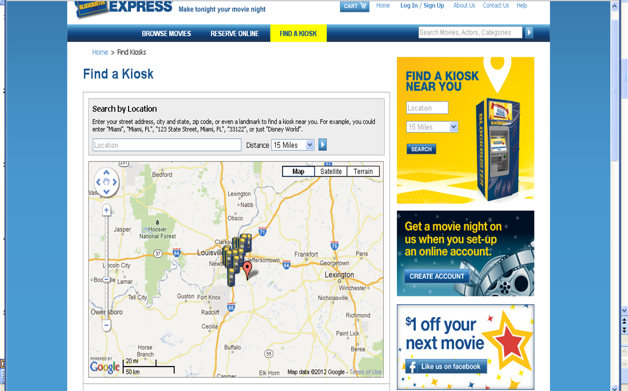 Photo: A map then came up with all local kiosks, plus directions and driving distance.  I choose the closest one and added the movie to my cart.