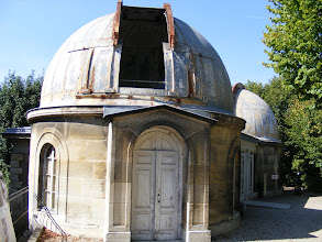 """Photo: This small dome contains a 13 inch diameter lens-based astrographic telescope (i.e., intended only for celestial photography). It was the starting point for the ambitious """"Carte du Ciel"""" project, an international star-mapping effort initiated in 1887 by Paris Observatory director Amédée Mouchez. The project's main goal, supported by 20 observatories around the world, was to create a photographic reference Astrographic Catalogue of the entire sky down to 11th magnitude stars (which are 100,000 times fainter than the dimmest stars visible to the naked eye). The project was never fully completed, although more than 22,000 (glass) photographic plates were exposed over several decades."""