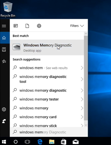 """Type in """"Windows Memory Diagnostic"""" in the search bar beside the Start menu. Select the very first match that comes up."""