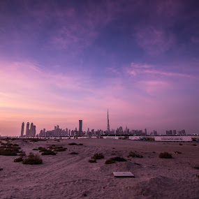 Dubai Sunset by Sebastian Tontsch - City,  Street & Park  Skylines ( dubai downtown sunset burj khalifa )