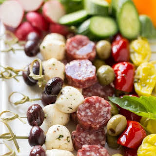 Antipasto Skewers & Ideas for an Awards Show Party.