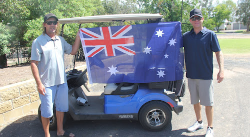 Brad Fitzgerald and Shannon Johnson got right into the Australia Day spirit at the Narrabri Golfie's three-person ambrose last Friday.