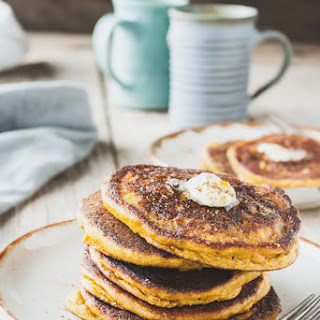 Pumpkin Oat Pancakes with Maple-Sage Butter
