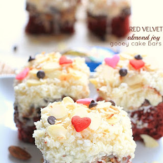 Red Velvet Almond Joy Gooey Cake Bars.