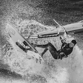 Flying Surfer by Keith Sutherland - Sports & Fitness Surfing ( surfer, spray, flying, water, jump )