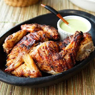 Peruvian-Style Grilled Chicken With Green Sauce.