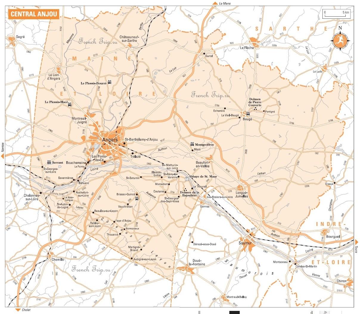 Карта региона Анжу