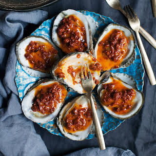 Grilled Oysters with Chorizo Butter.