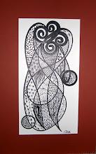 "Photo: 002 ECHOES OF THE ETERNAL FEMININE ~ ВІДГОМОНИ ВІЧНОЇ ЖІНОЧОСТІ Luba Bilash original ink matted & framed Image Size: 14"" x 7.25"" Frame Size: 17.5"" x 12.5"" $275"