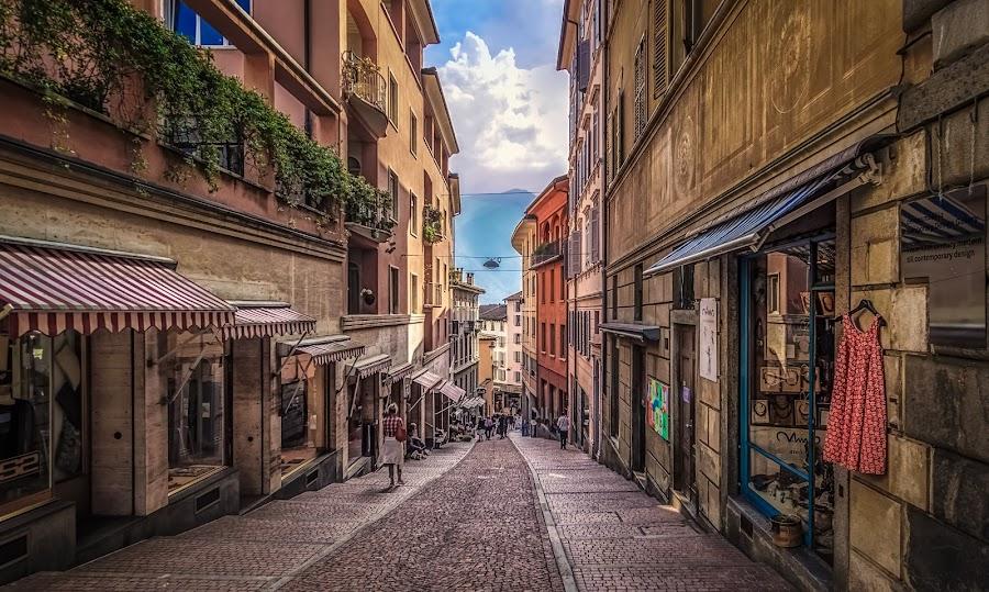 Via Cattedrale by Ole Steffensen - City,  Street & Park  Street Scenes ( ticino, city, street, switzerland, lugano, shops, via cattedrale, schweiz )