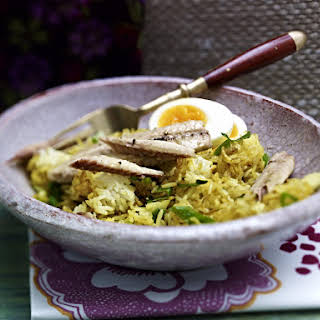 Curry Rice with Mackerel and Eggs.