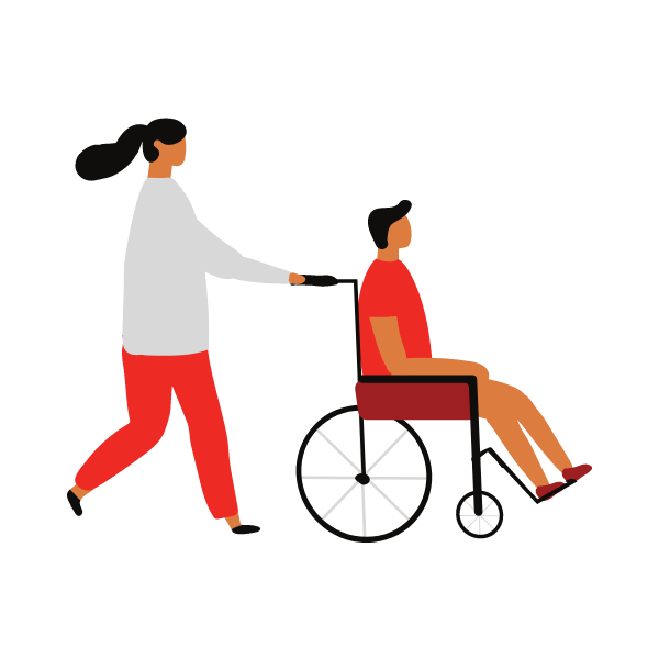 Graphic of a woman pushing a man on a wheelchair