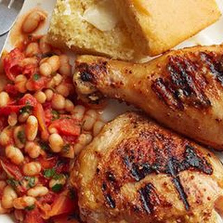 """Double Mustard and Honey-Glazed Chicken with """"Baked"""" Beans"""