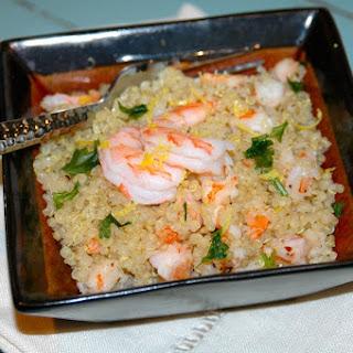 Quinoa with Sautéed Lemon Saffron Shrimp.