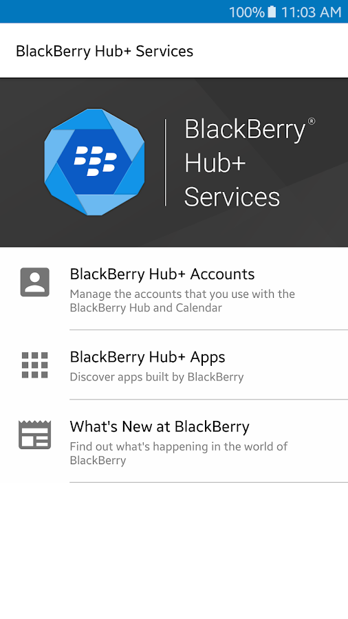 Службы BlackBerry Hub+ – скриншот