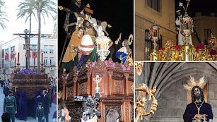 Las Cofradías de Angustias, Silencio, Nazarenos y Rosario del Mar en Jueves Santo.