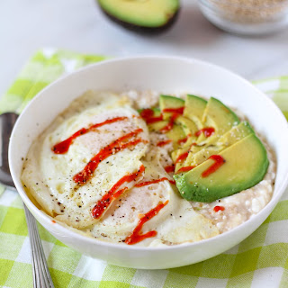 Cheesy Savory Steel Cut Oatmeal with Avocado & Fried Eggs