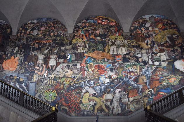 Diego Rivera: La epopeya del pueblo mexicano (plano 'La Conquista'). 1929 y ss.
