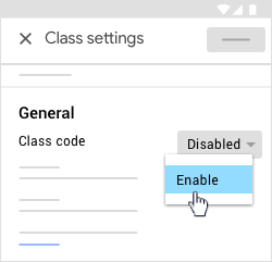 Tap Enable class code