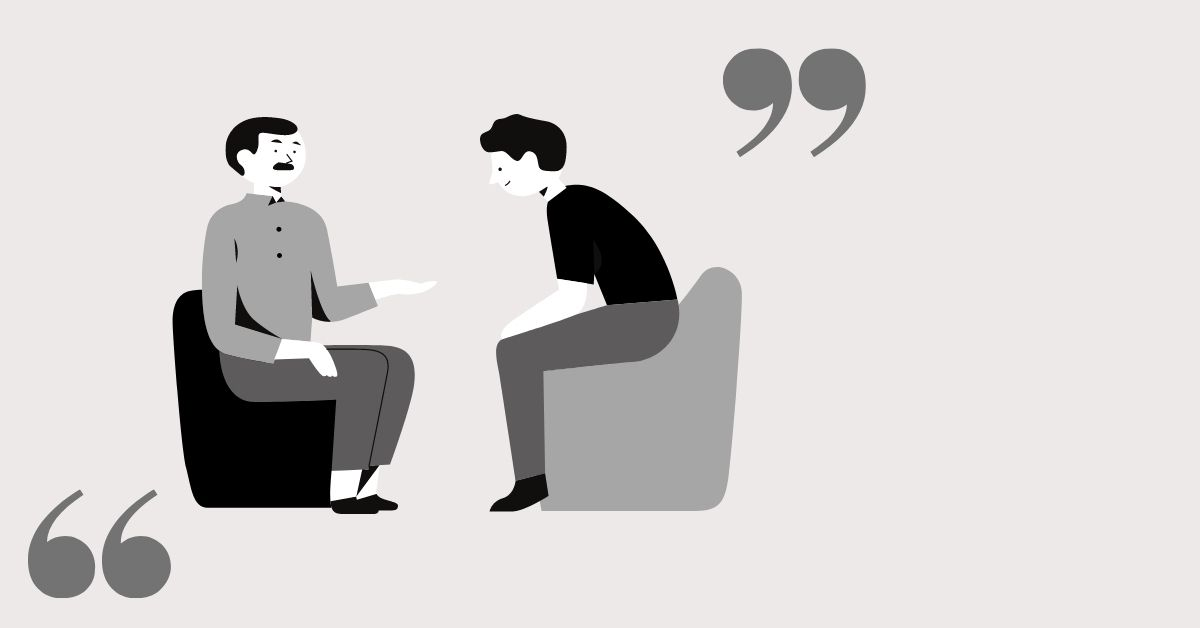 Quotation marks surrounding two men having a conversation.