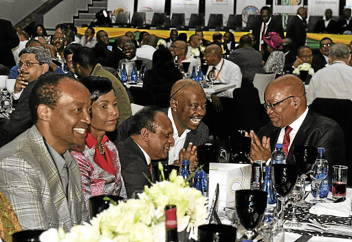Top table: Patrice Motsepe, Maite Nkoana-Mashabane, Vivian Reddy, Apostle Modise and Jacob Zuma at an ANC dinner in 2012. Picture: SUPPLIED