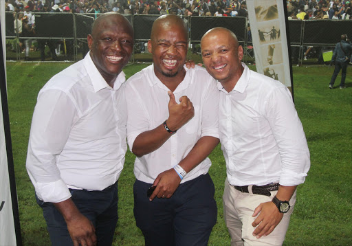 Presenters of Umhlobo Wenene's BEE show from left are Putco Mafani, Mafa Bavuma and Pastor Nozewu Picture: SINO MAJANGAZA