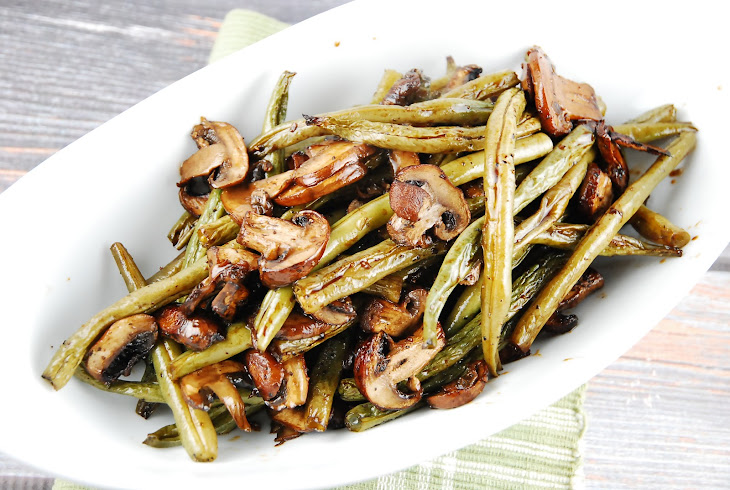 ... ginger roasted green beans with mushrooms balsamic and parmesan recipe