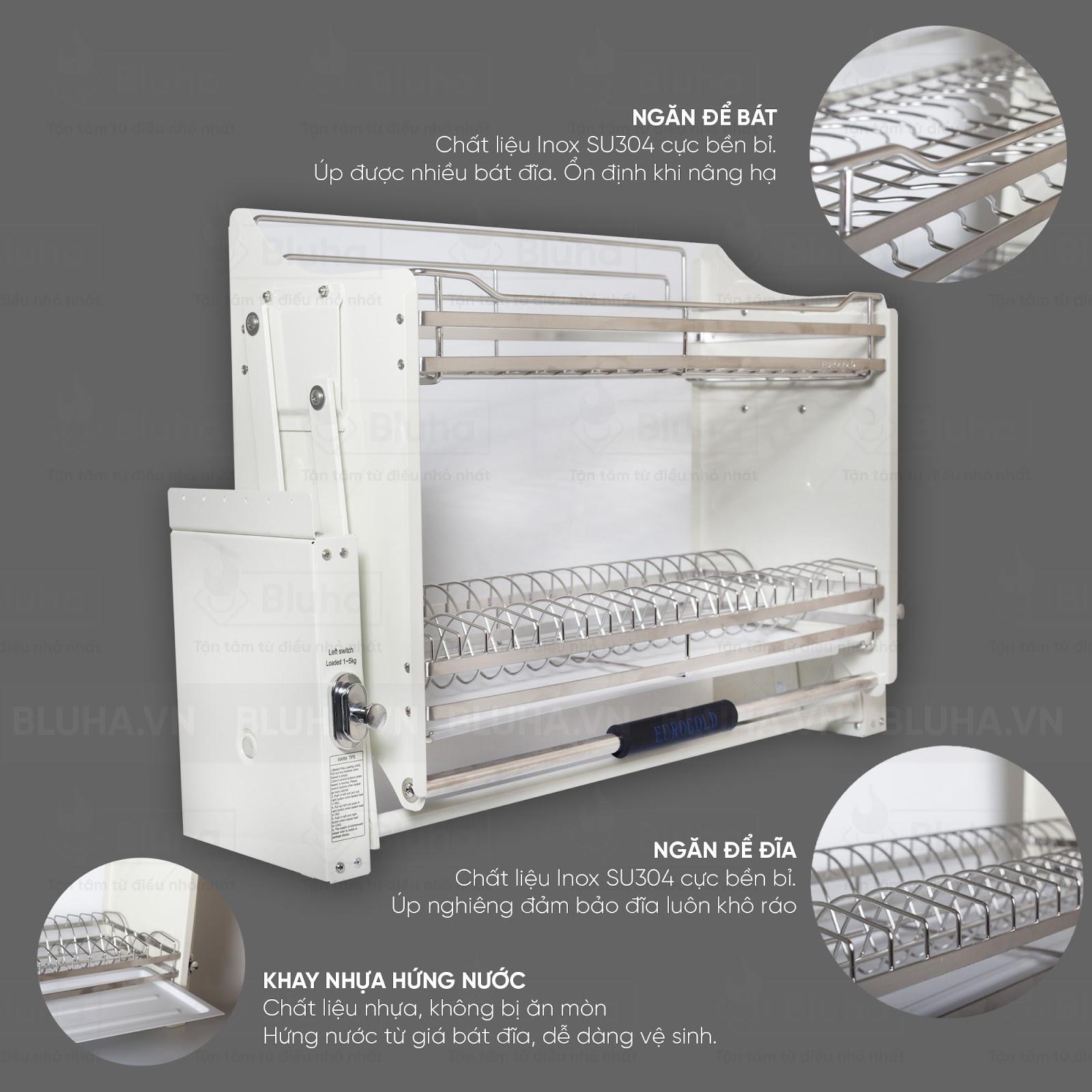 2 tầng để bát đĩa rộng rãi kết hợp với khay nhựa tiện dụng - Giá bát nâng hạ Inox EVI.180 - Phụ kiện bếp chính hãng