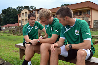 Photo: Head Coach Johnny McKinstry, with assistants Tom Harris and Andrew Sparkes  [Leone Stars Training Camp, in advance of Equatorial Guinea, Sept 2013 (Pic: Darren McKinstry)]