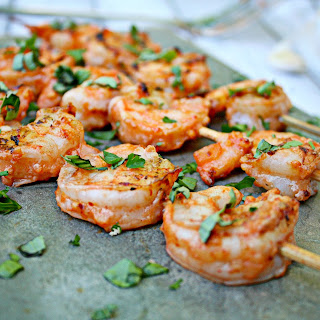 Grilled Shrimp with Salsa and Garlic Marinade.