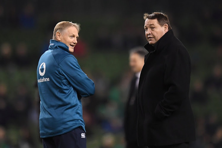 New Zealand coach Steve Hansen and Ireland head coach Joe Schmidt (left) before the match at the Aviva Stadium in Dublin, Ireland, November 17 2018. Picture: REUTERS/CLODAGH KILCOYNE