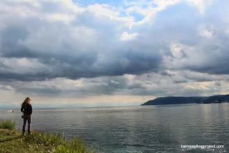 Photo: Liz considers Lake Baikal