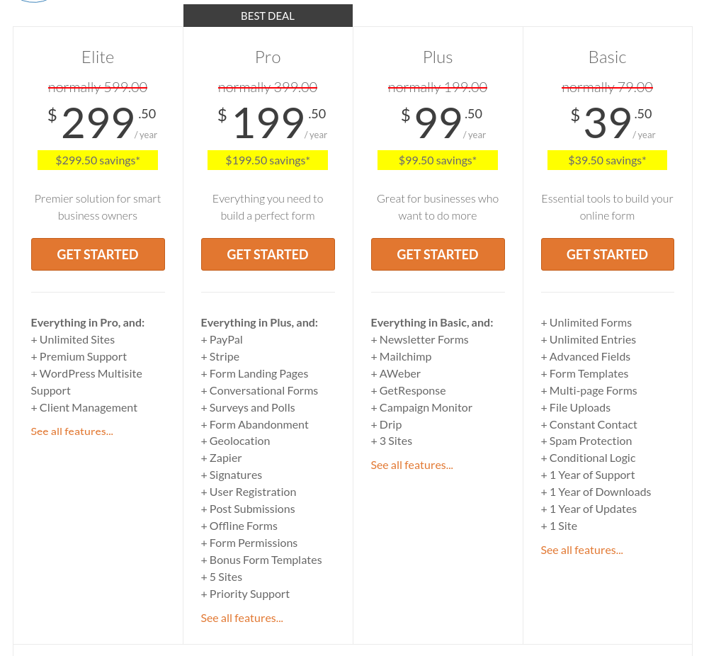 wpforms wordpress form plugin pricing
