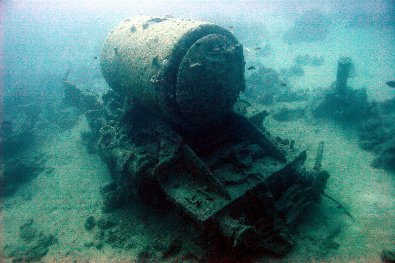 Photo: One of the trains lying on the seabed after the explosion of the SS Thistlegorm