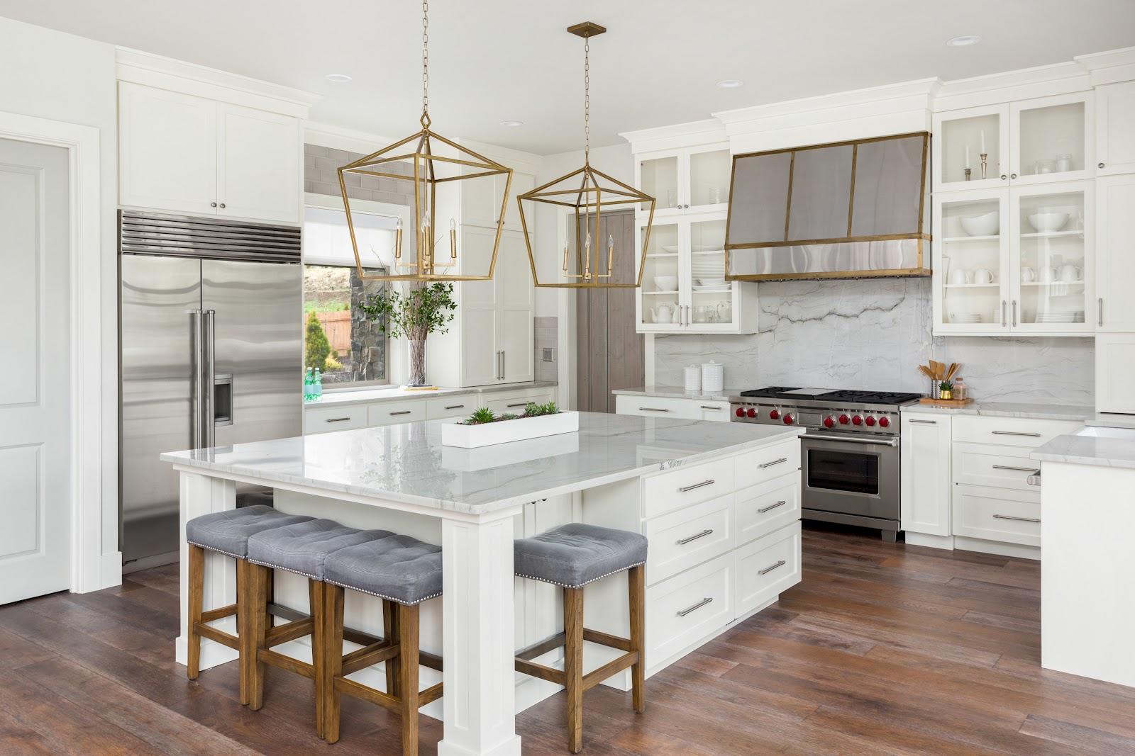 white modern kitchen with bar seating
