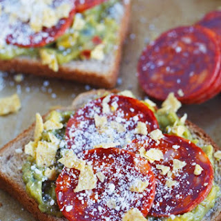 Pepperoni Guacamole Toast Recipe